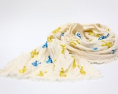 Toddler scarf, natural linen scarf, autumn spring scarf, eco friendly 140x30cm (55.1x12inch), blue and yellow bunny blockprint. - ZanziBach