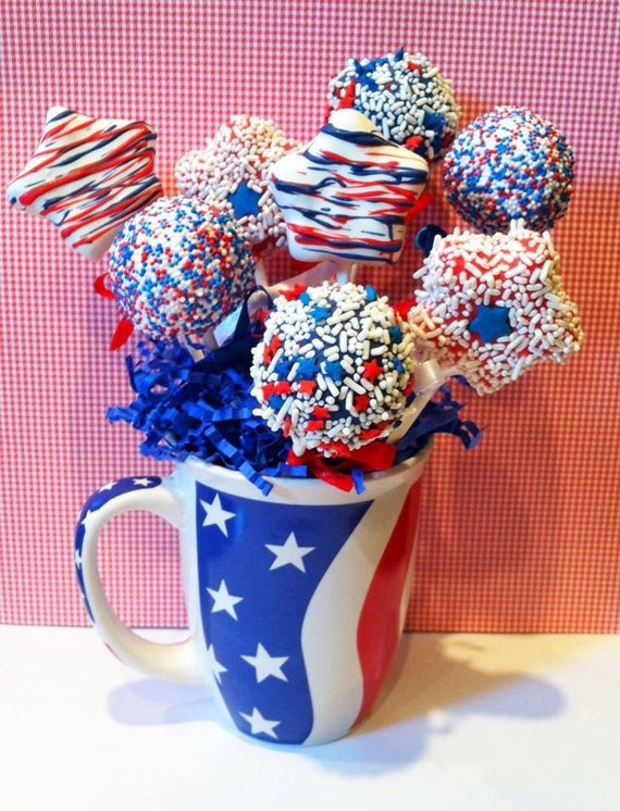 Red white and blue Cake pops by JamiesCakePops on Etsy