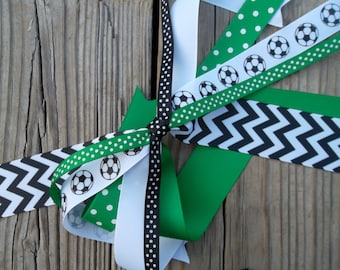 Soccer Green and Black Ponytail Bow Pony Steamers Bow Ponytail Holder Bows