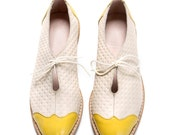 Oxford Flat Shoes - HAPPY 2016 SALE 30% OFF - white and yellow oxford shoes - tie oxford shoes - Handmade by ImeldaShoes