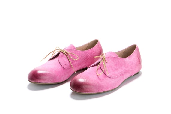 Oxford Pink Shoes. Almond Shape Oxfordstyle Leather By ImeldaShoes