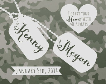 Military Wedding Gift, Custom Present for Army Couple -  Art Print, Husband Deployment, Marine Wife, Army Print, Camouflage Dog Tags