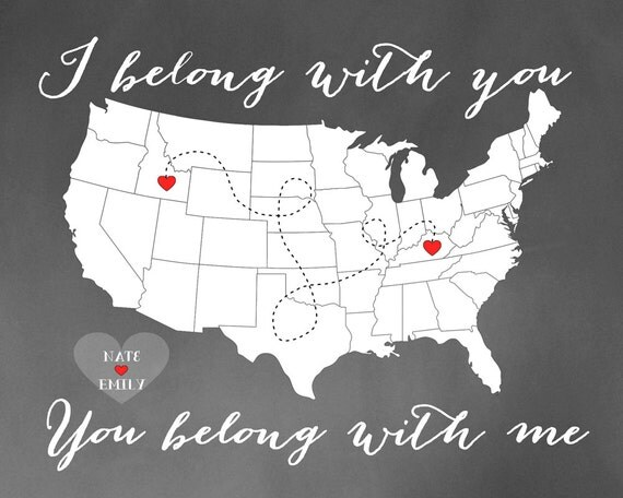 I Belong With You You Belong With Me Custom Map Gift