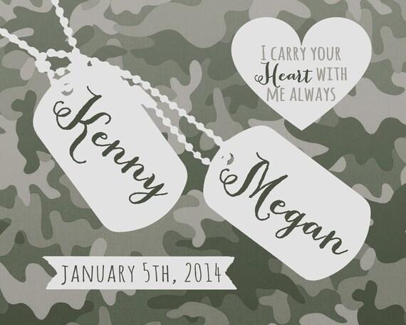 Wedding Gift, Custom Present for Army Couple - 8x10 Art Print, Husband ...