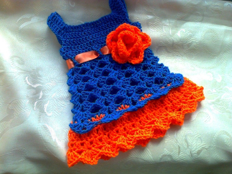 Florida Gator Baby Dress Blue And Orange Crochet Baby Dress