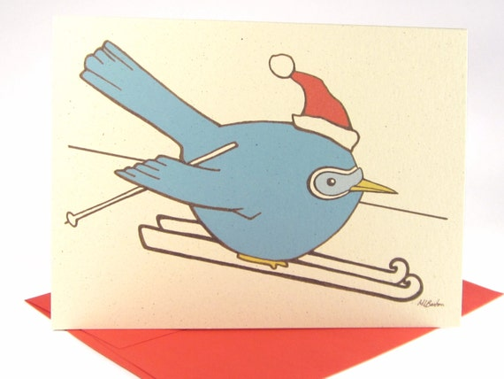 Funny Christmas Card Set (Set of 10) - Blue Bird on Skis - Holiday Card, Recycled Illustrated Card (1501)