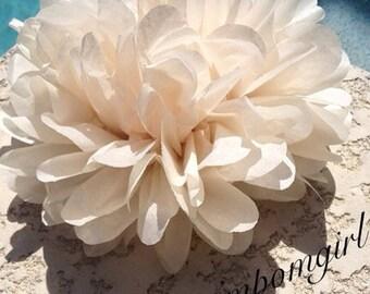 KHAKI / 1 tissue paper pom pom / wedding decorations, baby shower, nursery decor, birthday decorations, bridal shower, tea party, diy