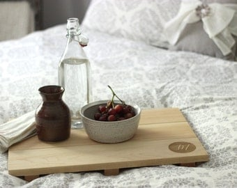 Custom Engraved, Personalized Wood Serving Tray - Monogram Design on Modern Kitchen and Breakfast Platter