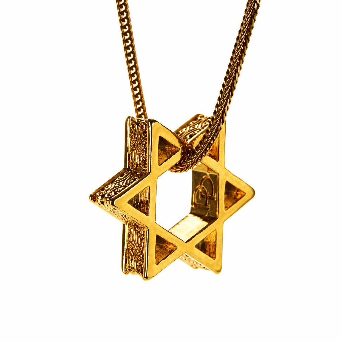Mens necklace star of david pendant 14k gold by perepaix for Star of david necklace mens jewelry