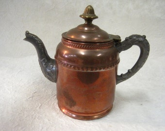 Vintage Late 1800's Rochester Stamping Co. Miniature Copper, Nickel, and Brass Teapot