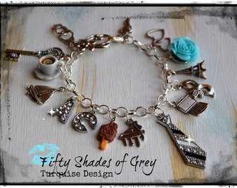 Inspired Fifty Shades of Grey Charm Bracelet 50Shades handmade Gift TURQUOISE