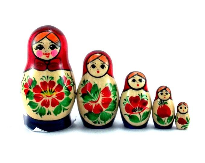 Nesting Dolls 5 pcs Russian Stacking Matryoshka doll Babushka set Suvenirnaya Wooden Handmade and handpainted birthday christmas gift