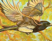 Flying magpie and aspens