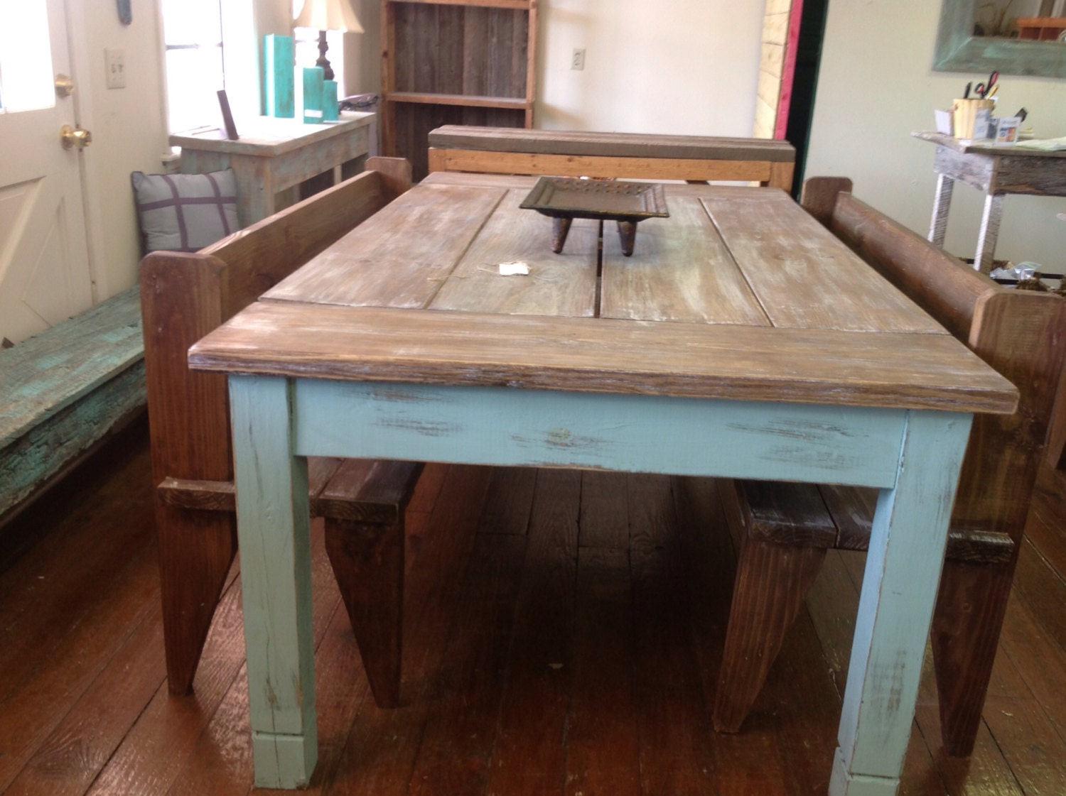 Large Farmhouse Kitchen Table Farmhouse Table Etsy