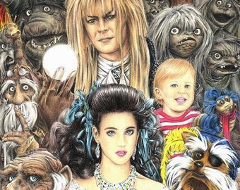 Labyrinth montage 11 x 17 colored pencil print