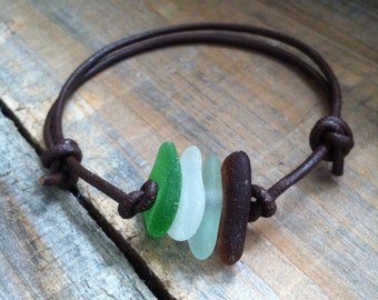 Sea Glass and Leather Bracelet - Real Sea Glass Bracelet, Multi Colored Sea Glass Bracelet - Sea Glass Jewelry, Beach Glass Bracelet