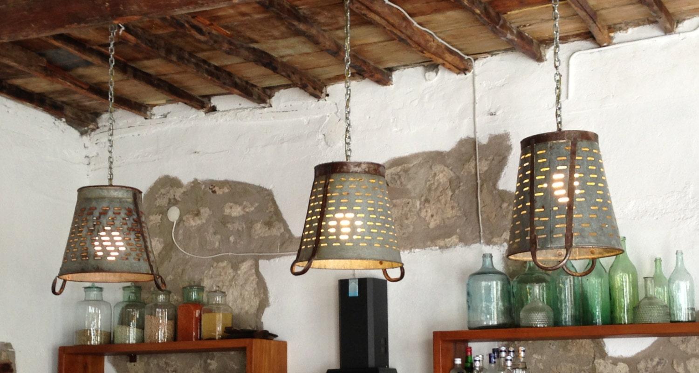 Rustic Metal Olive bucket basket lampPendant Lightingrustic
