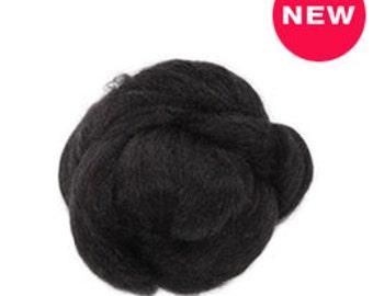 1 oz  Tussah Silk Roving, black