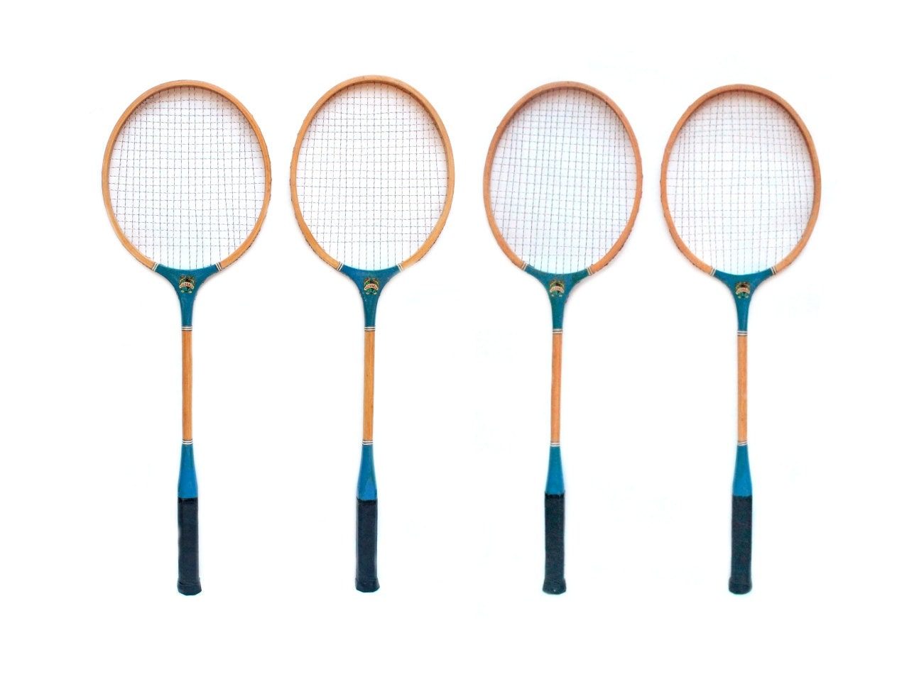 Set Of 4 Vintage Victoria Wooden Badminton Rackets