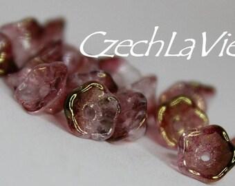 Czech Glass Flower Beads 7x5mm - Pink Lumi (14295)
