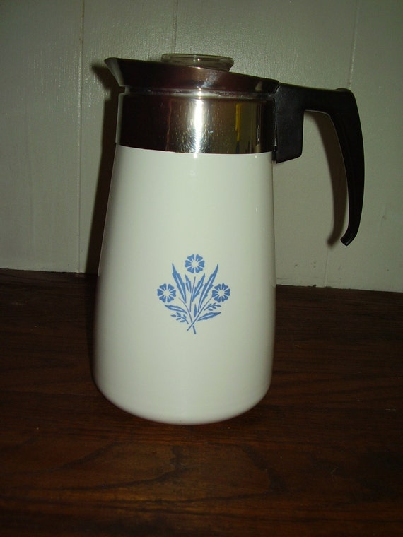 Vintage Corningware Blue Cornflower 9 Cup Stovetop Percolator
