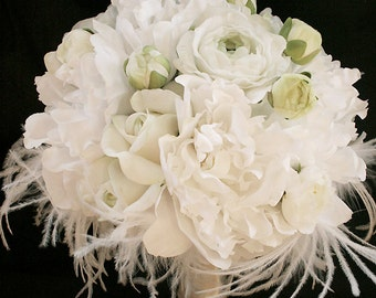 Silk Wedding Bouquet with Off White Roses, Peonies and Ranunculus - Natural Touch Silk Flower Bride Bouquet - Feather Bouquet