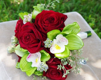 Silk Wedding Bouquet Velvet Red Roses and Green Cymbidiums Natural Touch Flowers Bridal Bouquet