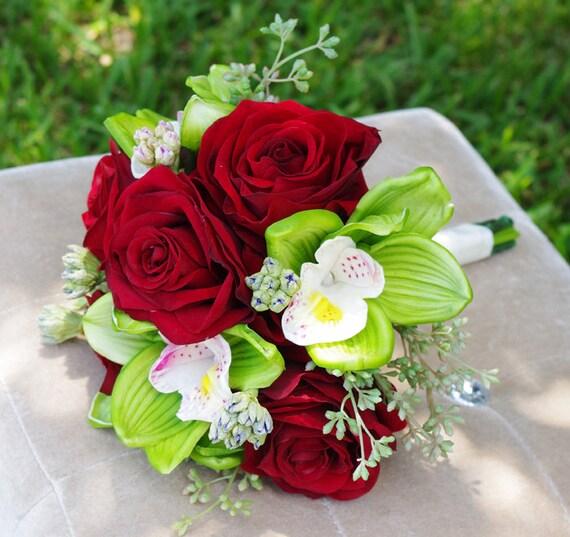 seide hochzeit bouquet samt rote rosen und gr nen cymbidium. Black Bedroom Furniture Sets. Home Design Ideas