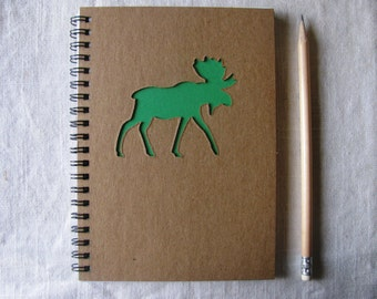 Moose Peek-a-boo - 5 x 7 Journal- Your choice Peek a boo color