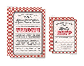 Red & White Gingham Wedding Invitations and RSVP Card Set - Personalized DIY Printable File For Printing On Your Own