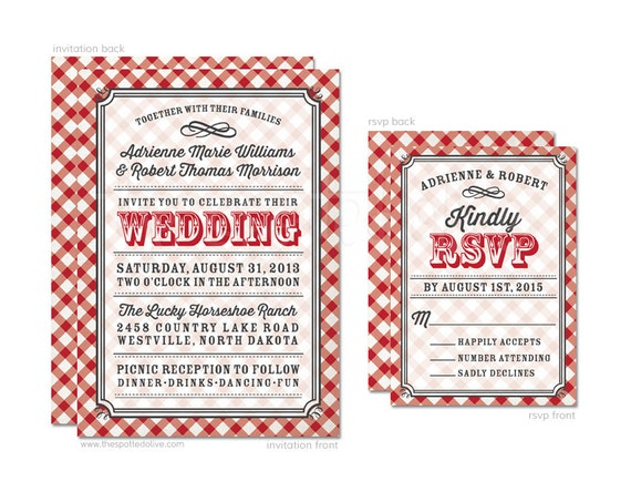 White And Red Wedding Invitations: Red & White Gingham Wedding Invitations And RSVP Card Set