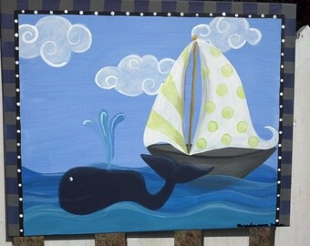 whale and sailboat art,nautical decor,preppy painting, for boys nursery room or playroom