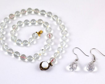 Glass Bead Necklace With Milk Glass Clasp & Cut Glass Earrings