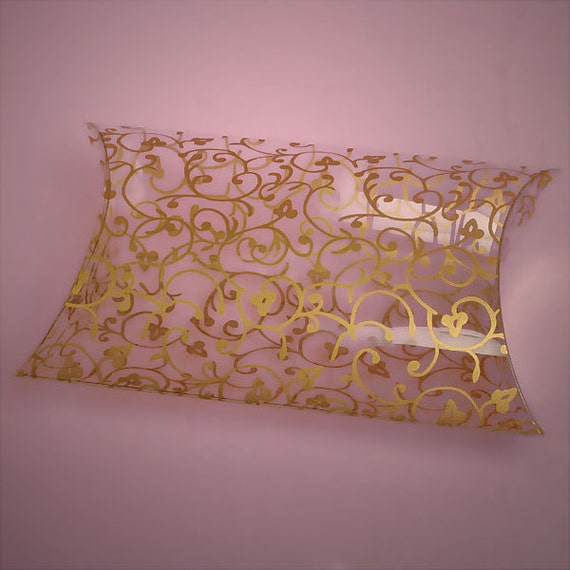 Gold Pillow Favor Boxes : Gold floral clear pillow box favors by sparklesoiree