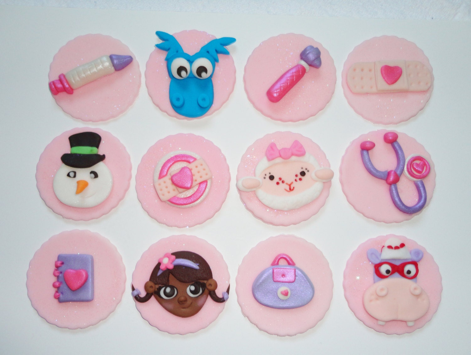 12 Sparkly Fondant DOC MCSTUFFINS Inspired Cupcake Toppers