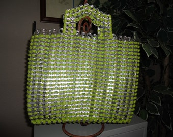 JUST REDUCED Handmade Lime green Recycled Soda Tab Tote, Bag,  Purse  Eco-Friendly Pop Tab Purse