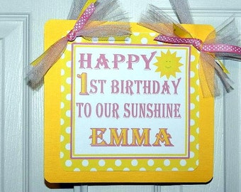 You Are My Sunshine Birthday Party Welcome Door Sign - You Are My Sunshine Birthday Party