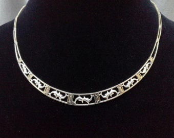 Vintage Jewelry: Sterling Silver Choker Necklace with Dancing Dolphins