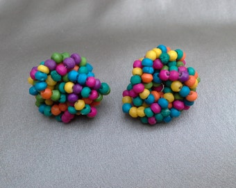 Neon Seed Bead Vintage Earrings