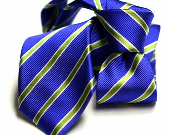 Skinny Silk Tie (2.75inch) in Stripes with Blue, Green, White