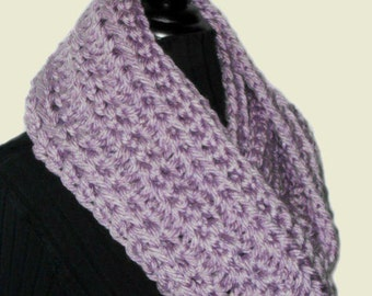 Light Purple Infinity Scarf Cowl Long Handmade Crochet Loop Circle Scarf Knit Lavender Lilac Infiniti Scarf