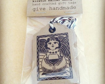 """handmade gift tags with eyelet and baker's twine, set of 5 gift tags - """"wine"""""""