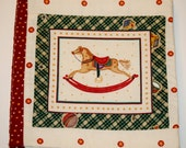 """Quilted Vintage Christmas Toys Picture Teething Storybook 8"""" x 8"""" Eight Page Cloth Book Teething Book Drool Resistant and Washable"""