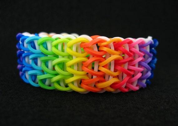 Items similar to Cotton Candy - Single Rainbow Loom Bracelet on Etsy