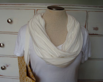 Free US Shipping Crisp White Summer Jersey Knit Infinity Scarf Cowl