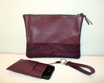 Free US Shipping Trendy Fall  2013 Eggplant Purple Plum Color Block Monochromatic Leather Clutch Purse Bag Set