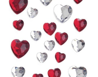 Stick-On Heart Rhinestones - Red and White AB (dar120270)