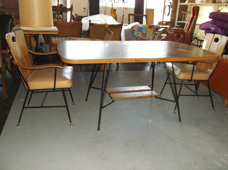 Mid Century Modern Dinning Room Wood Back Rod Chairs