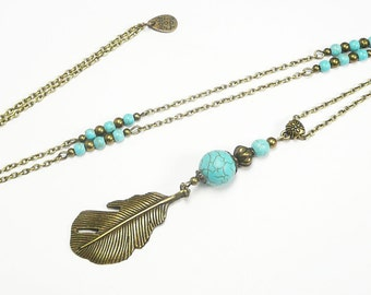 Long pendant necklace, bronze jewelry, long feather pendant, turquoise beaded necklace,vintage jewel