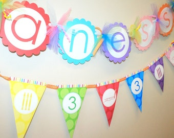 Crayon Birthday Pennant Banner - Assembled and Personalized